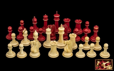 Carved And Turned Ivory Staunton Pattern Chess Set. One Side...