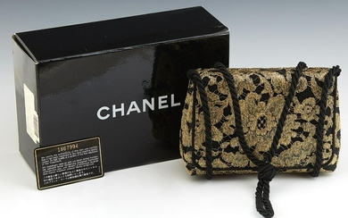 Chanel Black and Gold Brocade Evening Bag, c. 1990, the