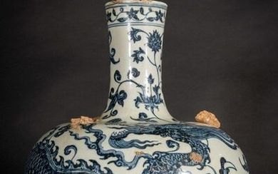 Chinese Art. A blue and white porcelain tianqiuping globular vase with dragon China, Qing dynasty, 19th century or earlier . A large globular vase with an elegant design of a flying three clawed dragon. It has collapsed on itself due to an evident...