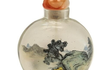 Chinese Glass Snuff Bottle, Hand Painted Mountains