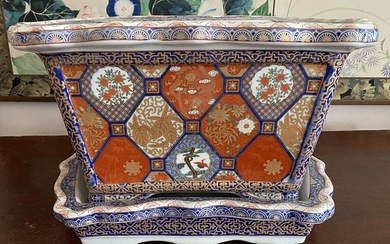 Chinese Porcelain Planter and Base, Qianlong Mark but later RM2A