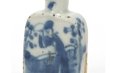 Chinese blue and white porcelain snuff bottle, hand painted ...