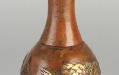 Chinese bronze vase with a crane decoration. With