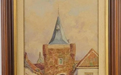 City gate in Elburg, watercolor 42x27 cm