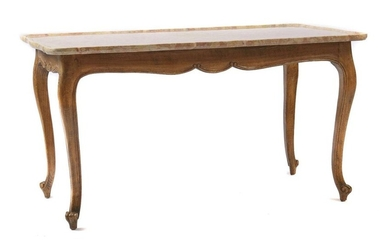 Coffee table in rococo style around 1900, beech, curved legs on volute feet, curved frame, erg. curved table top made of reddish Veronese marble with slightly raised edge, in addition a walnut table top (LxW: 123/69) with curved edge, HxWxD: 56/105/58...