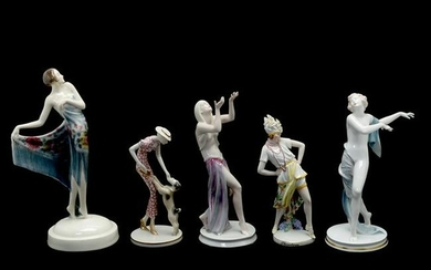 Collection of Five Art Deco Porcelain and Faience