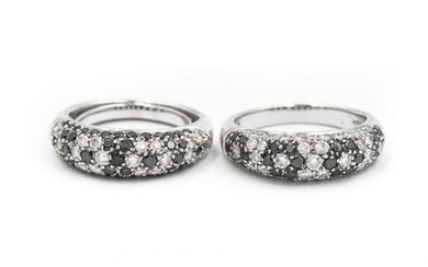 Contemporary White Gold and Fancy Diamond Flower Rings
