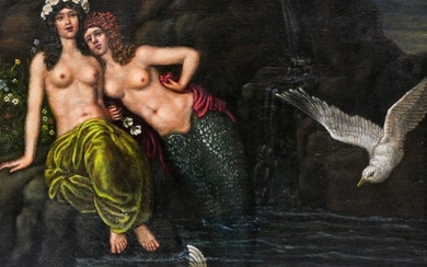 Continental School 19th Cent. Mermaids Oil on Canvas