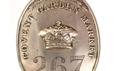 Covent Garden Market 1872 Porters large white metal arm badg...