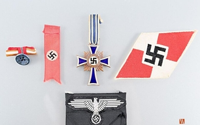 Cross of honour of the German mother second model, Ehrenkreuz des Deutschen Mutter, 2. Model, third class enamelled bronze, 4.5 cm, LT with ribbon 7 cm, insulated ribbon, BE, a patriotic float is attached to the swastika LT 6 cm, a woven HitlerJugend...