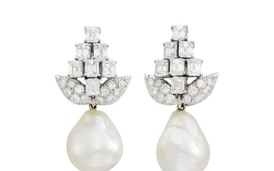 David Webb Pair of Platinum, Diamond and Baroque South Sea Cultured Pearl Pendant-Earrings with Interchangeable Pendant