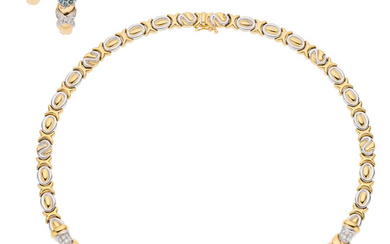 Diamond, Synthetic Sapphire, Gold Jewelry Suite The suite consists...