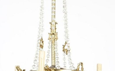 EMPIRE STYLE BRONZE CRYSTAL CHANDELIER C.1910