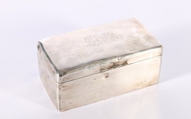Edward VII silver cigarette box of casket shape with engrave...