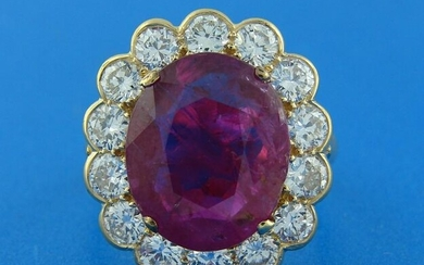 Elegant 6.32-ct RUBY 2.10 cts DIAMOND 18k YELLOW GOLD
