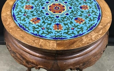 Enamel Top Asian Carved Wooden Side Table