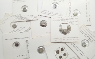 Fifteen Ancient Greek circulated silver coins to include tritartemorions...