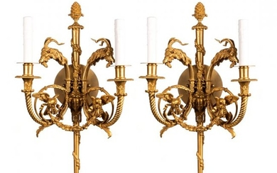 Fine Pair of Gilt Bronze Two-Light Wall Sconces