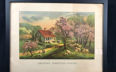 Framed American Homestead Spring Pubo by Currier & Ives