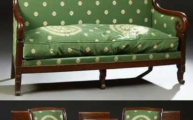 French Empire Style Carved Mahogany Seven Piece Parlor