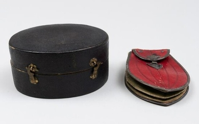 French Leather Traveling Pouch and a Traveling Box