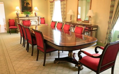 French style Mahogany dining table, double banded