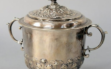 George I Silver Covered Mug, with reticulated finial on