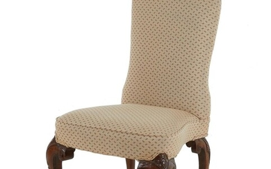 George I style upholstered walnut side chair
