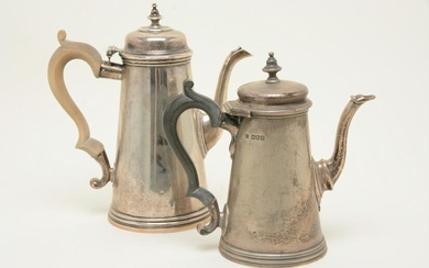 Georgian style sterling silver teapots. Larger marked
