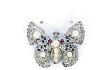 Gold pin with diamonds, rubies, sapphires and pearls
