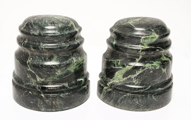 Green Marble Bookends, Pair