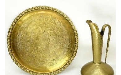 Grouping of a Large Brass Charger and Ewer