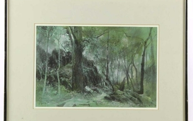 """HARRY F. TEPKER (AMERICAN)""""GREEN FORES"""" WATERCOLOR"""