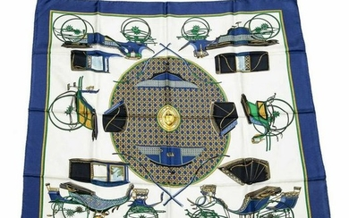 HERMES SILK SCARF 'LES VOITURES A TRANSFORMATION'