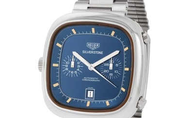 Heuer. Super Cool and Elegant Silverstone Automatic Calendar Chronograph Wristwatch in Steel, Reference 110.313b