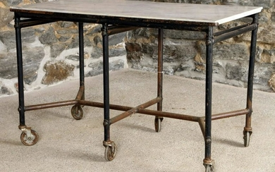 IRON AND MARBLE POTTING TABLE ON WHEELS C.1940