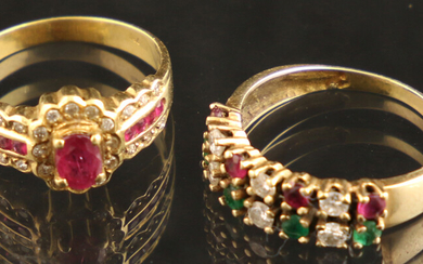 Jewellery gold - Two yellow gold rings; one 18k gold clusterring set with a ruby, encirlced by single-cut diamonds and callibrated rubies, and one 14k gold two-row ring set with four round-cut rubies, four round-cut emeralds and eight brilliant-cut...
