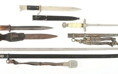 LOT OF 4: GERMAN WWII BAYONETS, LUFTWAFFE DAGGER, AND