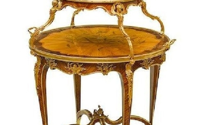 LOUIS XVI STYLE ORMOLU MOUNTED AND MARQUETRY TEA TABLE
