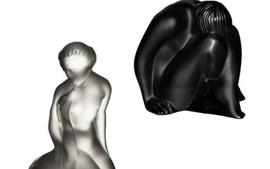 Lalique Black & Frosted Crystal Nude Figurines LOT