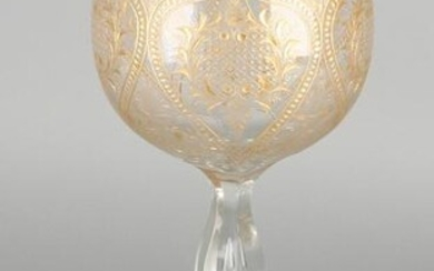 Large 19th century crystal glass goblet glass. Etched