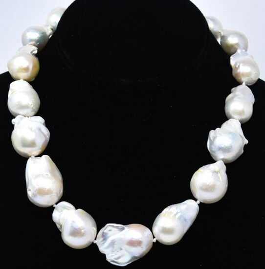 Large Baroque Cultured Pearl Hand Knotted Necklace