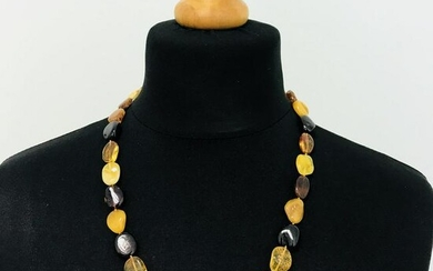 Large Mixed Colors Polished Baltic Amber Necklace