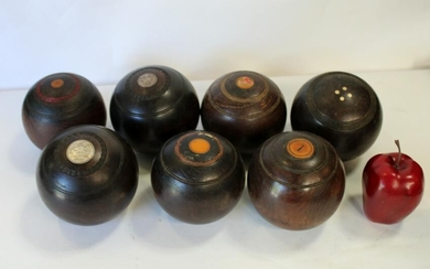Lot of 7 English wooden lawn bowling balls