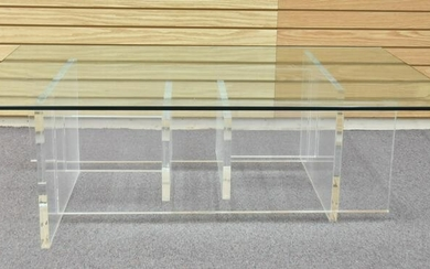MODERN LUCITE & GLASS COFFEE TABLE