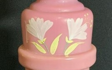Mid Century Pink Art Glass Floral Tabletop Vase