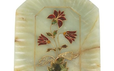 Mughal Jade Tray with Enamel and Gold Flowers