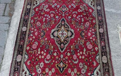 "ORIENTAL THROW RUG RED GROUND 5'9"" X 3'9"""