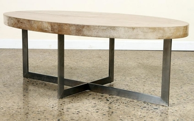 OVAL PARCHMENT COVERED STEEL COFFEE TABLE
