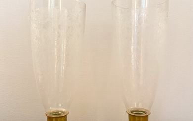 PAIR ANTIQUE ETCHED GLASS HURRICANE CANDLEHOLDERS